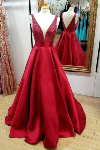 Red V-Neck A Line Beaded Backless Quinceanera Dresses Cheap Prom Dress, M331