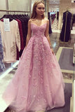 Dusty Rose Vintage Lace Applique Strapless Long Prom Dresses Evening Dresses, M332