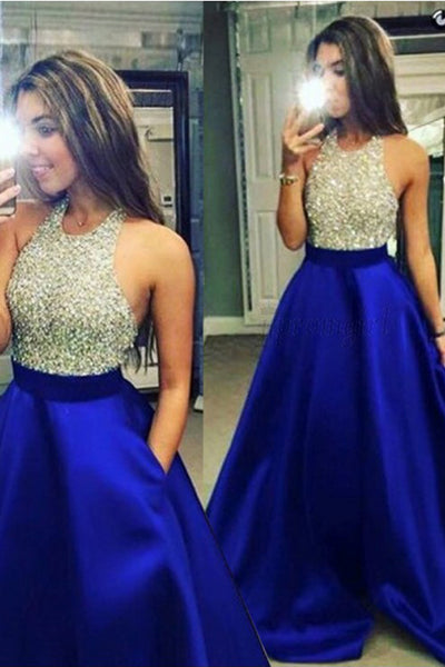 Cute Beaded Blue Halter Satin A-line Floor Length Prom Dress with Pocket, M333