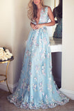 Blue Tulle Appliques V-Neck A-line Sleeveless Long Prom Dresses, M334