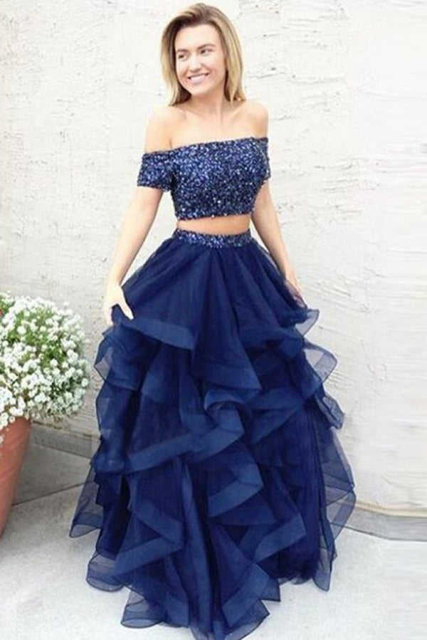 Navy Blue A Line Off Shoulder Ruffles Two Piece Prom Dress, Formal Dress, SP336