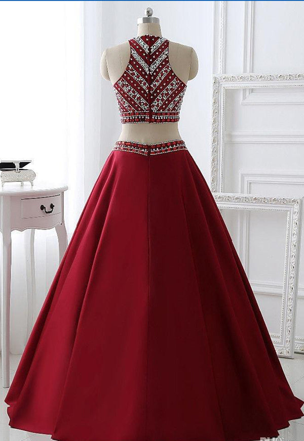 Burgundy Satin A-line Two Pieces Long Prom Dress Party Dresses at simidress.com