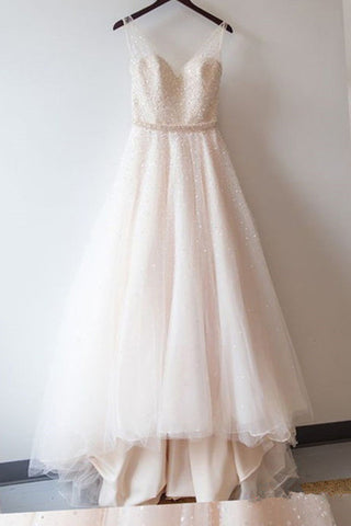 Blush Pink Prom Dresses,Ball Gown Lace Prom Gowns,Simple Prom ...