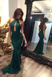 Green Open Back A line Prom Dresses,Chiffon Prom Gown,Cheap Evening Dresses, M72