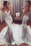 Mermaid Backless Prom Dress,Silver Sequined Prom Dresses,Evening Dress