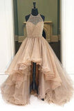 Organza High Low Long Prom Dresses with Beading, Cheap Evening Dress, M85