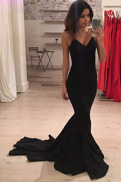 Black Mermaid Prom Dress, Charming Prom Gowns, Split Side Evening Party Dress, M86