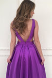 Satin A-line V-neck Long Prom Dresses, Purple Bridesmaid Dress, M89