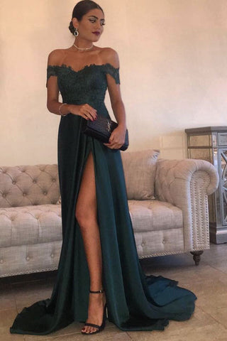Navy Green A Line Chiffon High Split Side Slit Lace Top Prom Dresses, M90