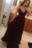V Neck Spaghetti Straps Long Prom Dresses, Floor Length Formal Dress, M91