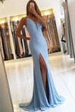 Fabulous Mermaid Light Blue Long Prom Dress, Sleeveless Slit Evening Dress, M92