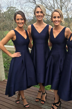 Navy Blue A-line High Low Simple Bridesmaid Dresses, Wedding Party Dress,MB31