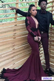 Purple Mermaid Long Sleeves Long Prom Dress with Black Appliques, M185