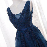 Navy Blue A-Line V-Neck Tulle Floor-length Prom Dress With Appliques, SP438 at simidress.com
