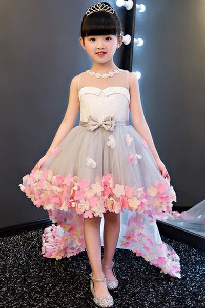 Pretty Pearl Neck High Low Lovely Ball Gown Flower Girl Dresses, Party Dress, SF22
