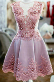 Princess Sheer Short Prom Dress, Appliques Beading Homecoming Dress Party Dress