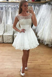 Charming Sheer Short Prom Dress,Lace Appliques Homecoming Dress Party Dress