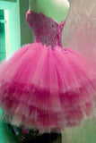 Sweetheart Strapless Short Prom Dress,Layers Lace Appliques Homecoming Dress Party Dress,SH103