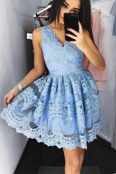 Simple V Neck Short Prom Dress,Lace Appliques Floral Homecoming Dress Party Dress
