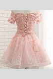 Sweet Off The Shoulder Short Prom Dress,Tulle  Appliques Floral Homecoming Dress Party Dress,SH109