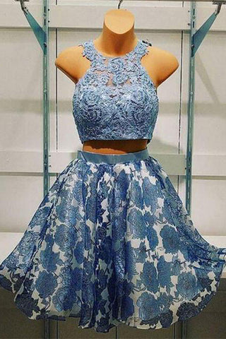 Two Piece Short Prom Dress,Hollow Halter Homecoming Dress Party Dress,