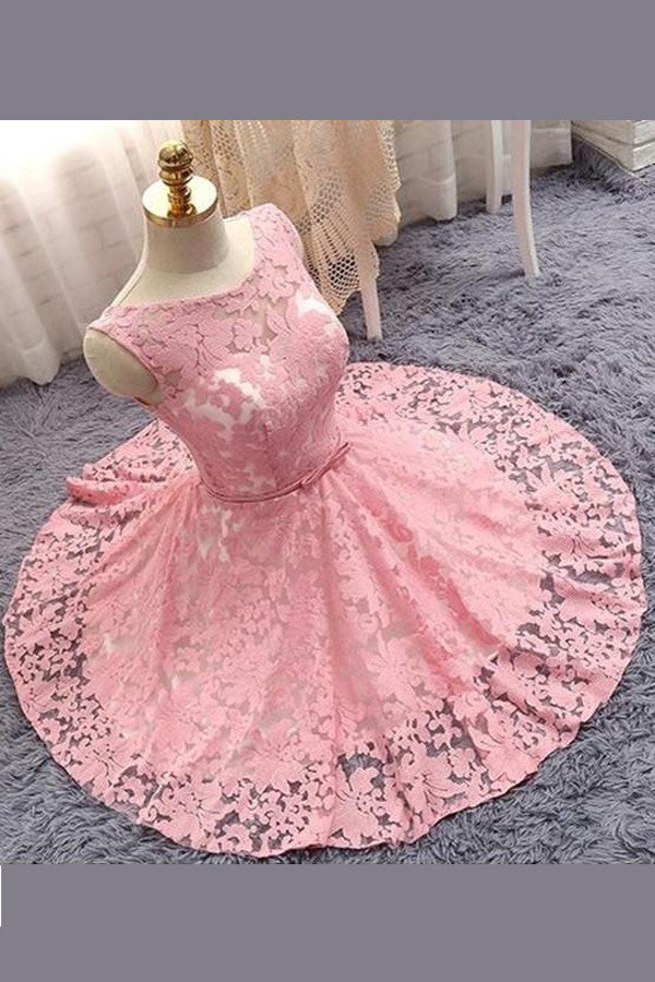 Princess Sheer Short Prom Dress,Appliques Floral Homecoming Dress Party Dress