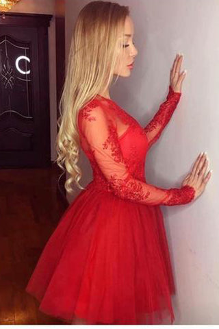 Long Sleeves Sheer Short Prom Dress,Appliques Floral Tulle Homecoming Dress Party Dress