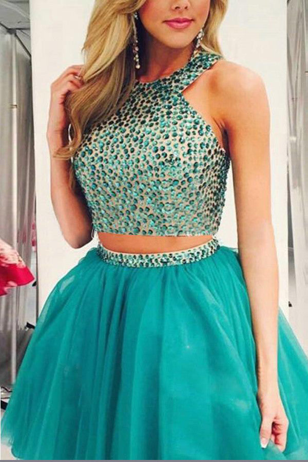 Two Piece Beading Short Prom Dress,Layers Chiffon Halter Homecoming Dress Party Dress