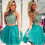 Two Piece Beading Short Prom Dress,Layers Chiffon Halter Homecoming Dress Party Dress,SH119