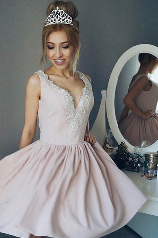 Simple Deep V Neck Short Prom Dress,Appliques Sleeveless Homecoming Dress Party Dress