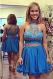 Two Piece Halter Short Prom Dress,Scoop Beading Keyhole Back Homecoming Dress