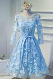 Charming Sheer Half Sleeves Short Prom Dress,Appliques Floral Keyhole Back Homecoming Dress