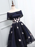 Charming Off The Shoulder Short Prom Dress,Sheer Appliques Homecoming Dress SH126