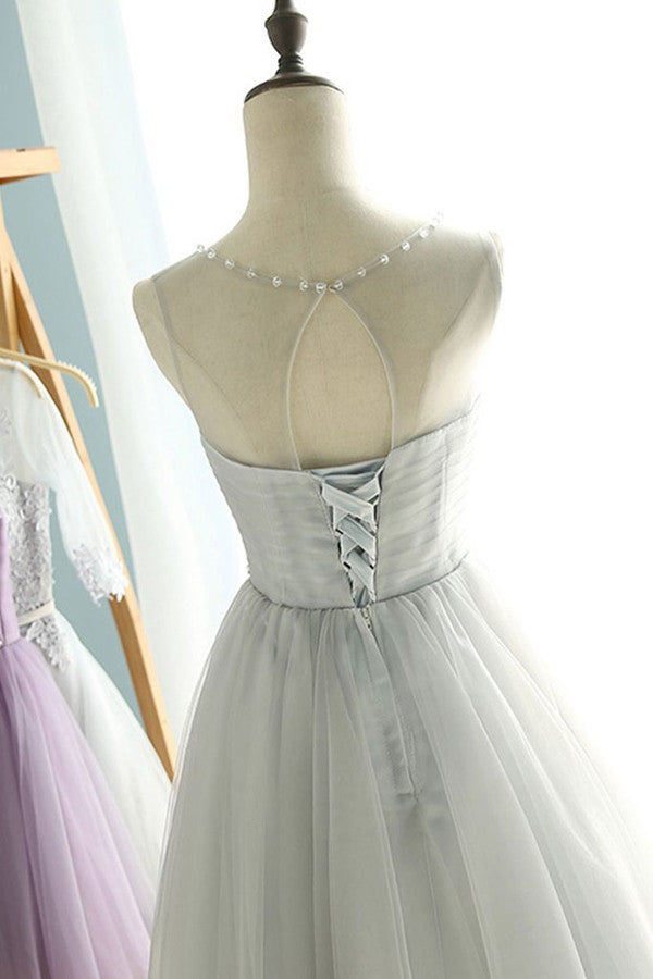 Simple Sheer  Short Prom Dress,Lace Up Pleats Homecoming Dress SH127