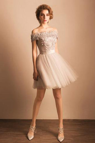 Champagne Off The Shoulder Short Prom Dress,Layers Tulle Appliques Scoop Homecoming Dress