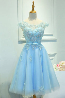 Light Blue Capped Sleeve  Short Prom Dress,Mid Back Appliques Homecoming Dress