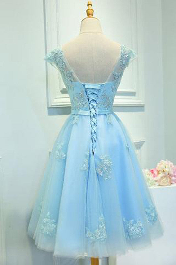 Light Blue Capped Sleeve  Short Prom Dress,Mid Back Appliques Homecoming Dress SH130