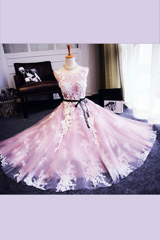 Light Pink Sleeveless  Short Prom Dress,Lace Up Appliques Homecoming Dress