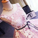 Light Pink Sleeveless  Short Prom Dress,Lace Up Appliques Homecoming Dress SH131