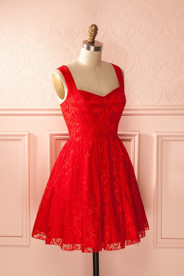 Simple Red Sweetheart Short Prom Dress,Appliques Mid Back Homecoming Dress SH138