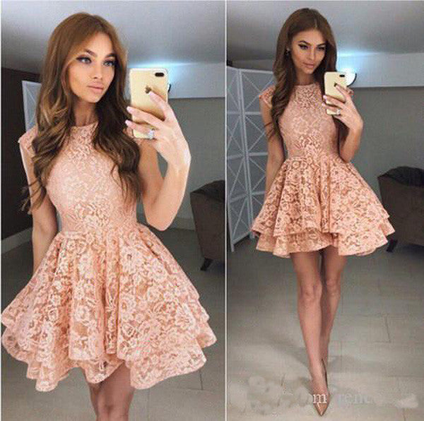 Coral Lace Short Prom Dress,Tiered Puffy Appliques Cheap Homecoming Dress,Party Dress SH140