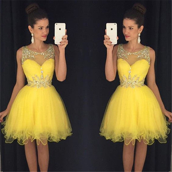 Yellow Sheer Sleeveless Sequins Layers Tulle Cheap Homecoming Dress,Party Dress SH142