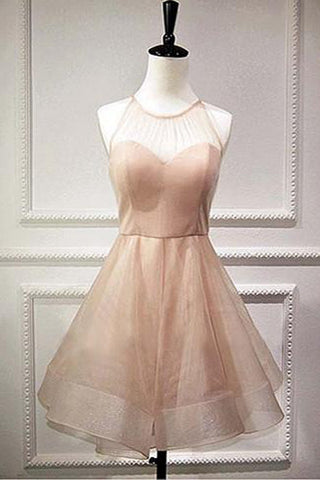 Simple Pink Sheer Homecoming Dresses,Lace Up Short Prom Dress
