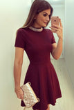 Burgundy High Neck Short Sleeve Short Prom Dress,Keyhole Back Beading Cheap Homecoming Dress,Party Dress