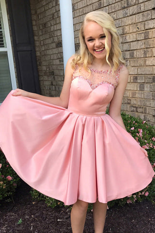 Pink Sheer Beading Short Prom Dress,Open Back Stain Cheap Homecoming Dress,Party Dress