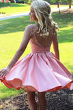 Pink Sheer Beading Short Prom Dress,Open Back Stain Cheap Homecoming Dress,Party Dress SH150