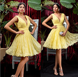 Yellow Deep V Neck Short Prom Dress,Sleeveless Lace Appliques Cheap Homecoming Dress,Party Dress SH153