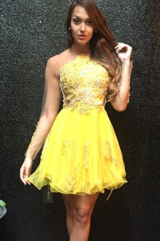 Yellow Sheer V Back Short Prom Dress,Layers Lace Appliques Cheap Homecoming Dress,Party Dress