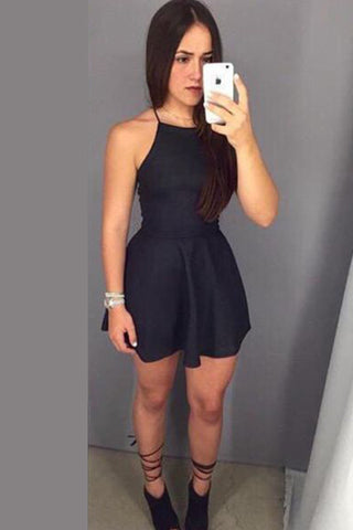 Black Halter Strapless Short Prom Dress,Sleeveless Tie Back Cheap Homecoming Dress,Party Dress