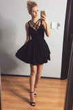 Black Sweetheart Short Prom Dress,Pleats Cheap Homecoming Dress,Party Dress SH162
